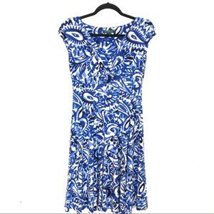 Lauren Ralph Lauren Blue White Patterned Dress